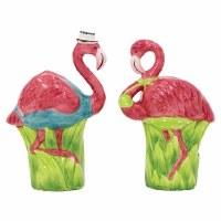 Embossed Ceramic Standing Flamingo Couple Salt & Pepper Shaker Set