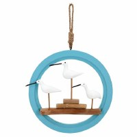 """11"""" Round White Wood Shorebirds in Blue Open Circle Frame With Jute Hanger"""