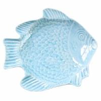 "7"" Light Blue Embossed Ceramic Fish Plate"