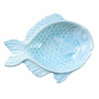 "6"" Light Blue Embossed Ceramic Fish Bowl"
