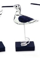"""6"""" Blue and White Marbled Wood Standing Shorebird"""