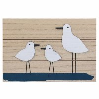"8"" x 12"" Distressed White Shorebird Trio Wood Wall Plaque"