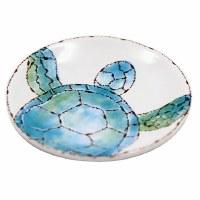 "3"" Round Blue and Green Ceramic Sea Turtle Trinket Dish"
