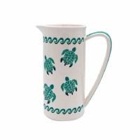 58 oz Green Ombre Sea Turtle Ceramic Pitcher