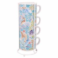 Set of 4 14 oz Under The Sea Mermaid Stacking Mugs With Rack