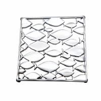 "8"" Square Silver Metal Cutout Fish Trivet"