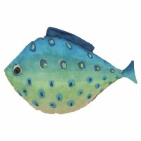 """16"""" Blue and Green Ombre Fish Shaped Pillow"""