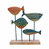 """10"""" Multicolor Polyresin Fish Quartet on Stand"""