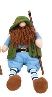 """20"""" Red Beard Fishing Gnome With Rod and Vest"""