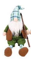 """20"""" White Beard Fishing Gnome With Rod and Vest"""