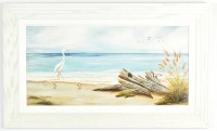 "18"" x 30"" Driftwood Gel Textured Print in Antique White Frame"