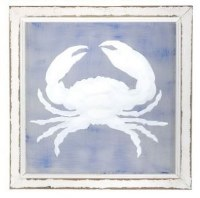 """16"""" Square Blue and White Crab Painted Screen in White Frame"""