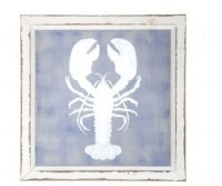 """16"""" Square Blue and White Lobster Painted Screen in White Frame"""