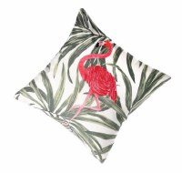 """16"""" Square Pink Flamingo Embroidered Fronds Pillow"""