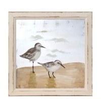 """16"""" Square Dark Brown Sandpiper Duo Painted Screen in Tan Wood Frame"""