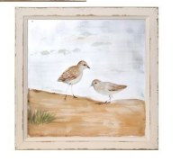 """16"""" Square Light Brown Sandpiper Duo Painted Screen in Tan Wood Frame"""