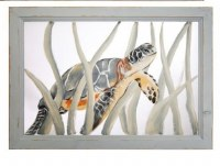 """14"""" x 20"""" Baby Sea Turtle Bottom Paint Screen in Gray Wood Frame"""