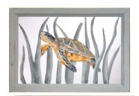 """14"""" x 20"""" Baby Sea Turtle Center Paint Screen in Gray Wood Frame"""