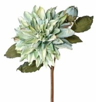 """21"""" Faux Teal Green Just Dried Dahlia and Bud Spray"""