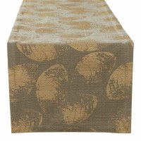 """72"""" Gold Leaves on Taupe Table Runner"""
