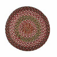 """15"""" Round Red, White, and Green Holly Berry Braided Placemat"""