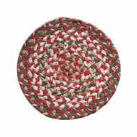 """8"""" Round Red, White, and Green Holly Berry Braided Trivet"""