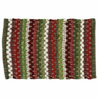 """13"""" x 19"""" Red, White, and Green Wintergreen Chindi Placemat"""