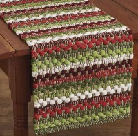 """54"""" Red, White, and Green Wintergreen Chindi Table Runner"""