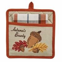Set of 2 Autumn's Bounty Pocket Potholder With Plaid Kitchen Towel