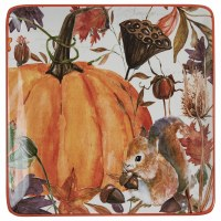 "11"" Square Multicolor Ceramic Harvest Home Platter"