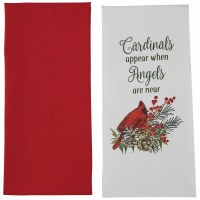 """Set of 2 28"""" x 18"""" Red and White Cardinals & Angels Kitchen Towels"""