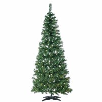 6' Green Full Pop Up Fir Tree With Warm White LED Lights