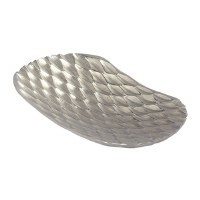 """18"""" Oval Silver Nickle Weave Textured Dish"""
