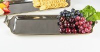 """7"""" x 23"""" Stainless Steel Tray With Brass Rim and Handles"""