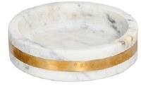 "8"" Round White Marble with Brass Edging Mini Tray"