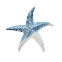 """10"""" Blue and Bisque Ceramic Starfish Decor"""