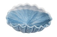 """4"""" Blue and Bisque Ceramic Small Shell Bowl"""