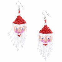 Hand Beaded Santa Claus Earrings