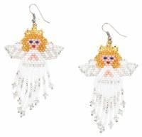 Hand Beaded Angel  Earrings