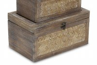"""8"""" x 12"""" Brown Woven Wood Storage Box With Metal Latch"""