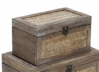 """6"""" x 10"""" Brown Woven Wood Storage Box With Metal Latch"""