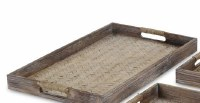 """12"""" x 19"""" Brown Woven Wood Center Tray With Rope Wrapped Handles"""