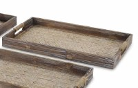 """11"""" x 18"""" Brown Woven Wood Center Tray With Rope Wrapped Handles"""