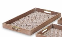 """12"""" x 19"""" Whitewashed and Brown Woven Wood Tray"""