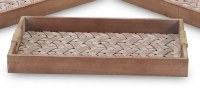"""10"""" x 16"""" Whitewashed and Brown Woven Wood Tray"""