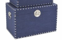 """12"""" x 20"""" Navy Linen Trunk With Silver Studded Trim"""