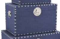 """10"""" x 16"""" Navy Linen Trunk With Silver Studded Trim"""