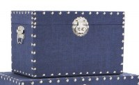 """8"""" x 13"""" Navy Linen Trunk With Silver Studded Trim"""