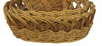 """15"""" Oval Deep Stained Woven Basket"""