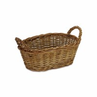 """11"""" Oval Smoked Willow Basket With Handles"""